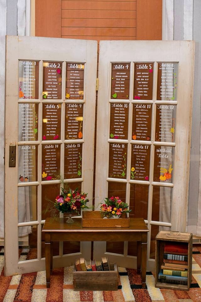 Calligraphy Seating Chart For Rustic Wedding Receptions On