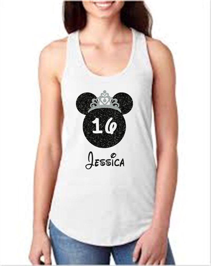 Disney Sweet 16 Birthday tank.  Minnie Mouse Ears Birthday tank personalized for your special day!!  Disney family shirts in all sizes baby, toddler, youth and adult.  Ladies Tank Princess Minnie, Disney Princess Shirt.  Etsy shop https://www.etsy.com/listing/510751399/minnie-mouse-birthday-shirtdisney