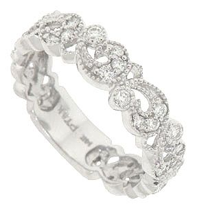 A tumble of crescent shaped leaves and miniature blossoms dance across this 14K white gold floral wedding band. This distinctive antique style wedding ring is set with .39 carat total weight of round diamonds and frosted with a delicate milgrain. The ring measures 4.90 mm in width. Size 6 3/4. We can re-size or order in any size. Also available in 18K, yellow gold and platinum.