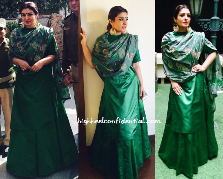 At a women's conclave in Gujarat, Raveena was seen in a emerald green Sanjay Garg long kurta and skirt featuring a peacock embroidered dupatta. We don't have the best pics but from what we see, she looked good. I do think though, the outfit would've worked better for an evening event than a day one. …