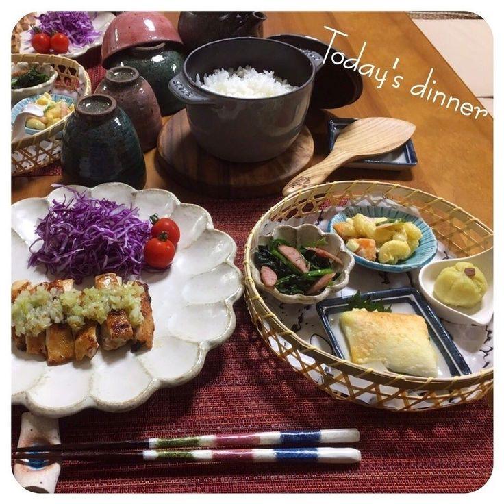 きよさんのチキンのねぎ塩ダレ ほうれん草のオイル蒸し はんぺんチーズ焼き マカロニサラダ さつまいもの茶巾 なめこと油揚げのお味噌汁 写ってませんが ごはん #snapdish #foodstagram #instafood #food #homemade #cooking #japan #japanesefood #料理 #手料理 #ごはん #おうちごはん #テーブルコーディネート #器 #お洒落 #和食 #ていねいな暮らし#暮らし #ばんごはん https://snapdish.co/d/mOOyPa