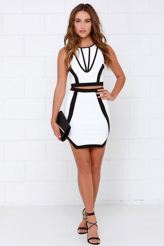 Intergalactic Black and Ivory Two-Piece Dress at Lulus.com!