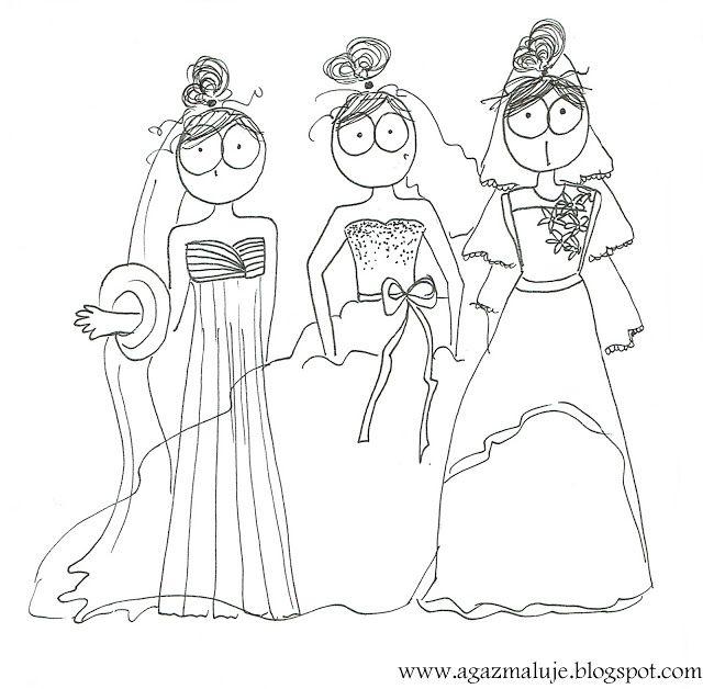 ślub, pani młoda, suknia ślubna, rysunek, agazmaluje, blog rysunekowy, obraek, ilustracja, cienkopis, akwarela, prezent