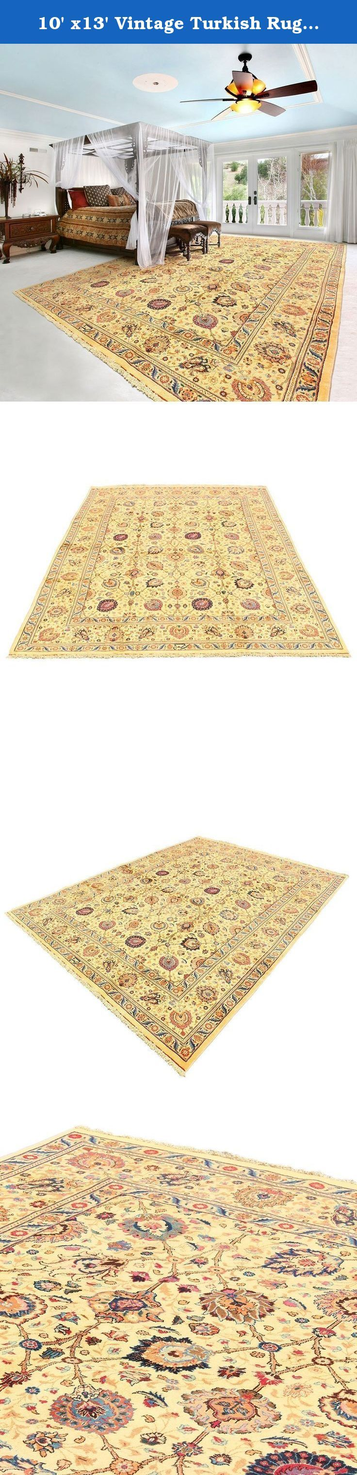 10' x13' Vintage Turkish Rug from 1860s, High Class One Of A Kind Oriental Rug in Excellent Condition , Has never Been Used. code:R0101316, Oriental Area Rug, Traditional Fancy Carpet. Traditional designed hand woven rug which comes from pure lamb wool sheared at the Beginning of spring and a mixture of organic colors. It would make your place more attractive with its wonderful color. Really traditional and Classic design. As an advantages of years of being in this business our price is...
