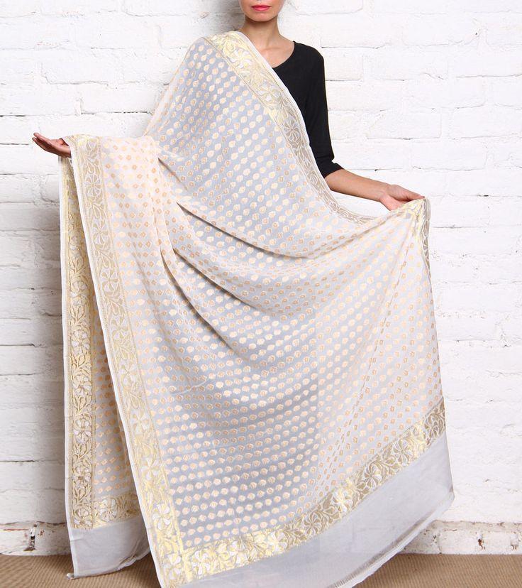 White Handloom Banarasi Chiffon Silk Dupatta