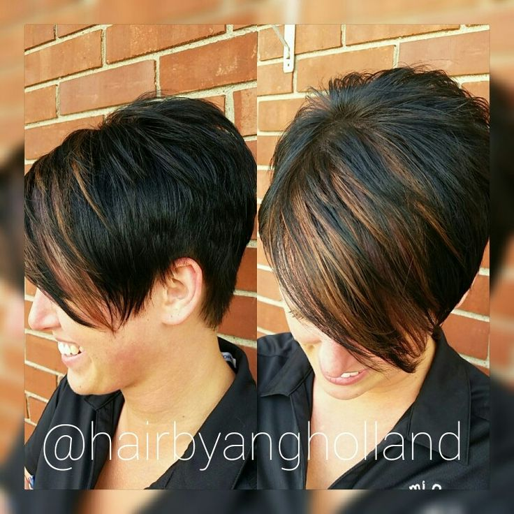 Black pixie with copper bangs