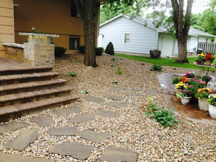 Landscaping with rocks and stepping stones : Ideas about river rock landscaping on
