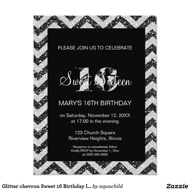 267 best chevron sweet sixteen invitations images on pinterest glitter chevron sweet 16 birthday invitation stopboris Images