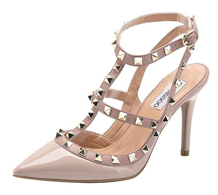 Hot Women Rivets High Heels Pointed T-strap Studded Pumps Strappy Studded Shoes
