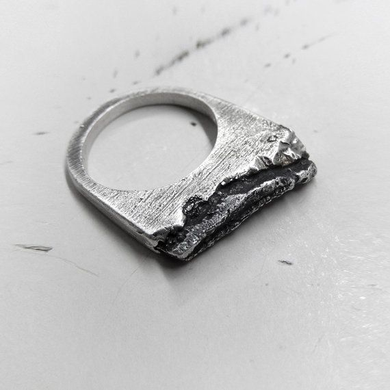 Row Textured Sterling Silver Ring  Hand Carved by applenamedD
