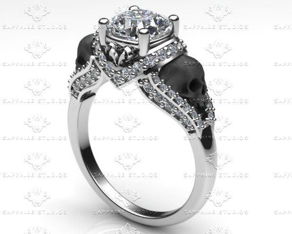 'Amora' 1.65ct White Diamond White Gold Skull Engagement Ring