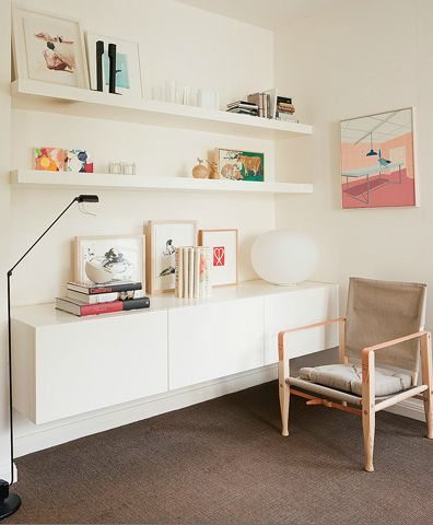 Shareen Joel via Blissful Blog  Love the shelves and cabinet
