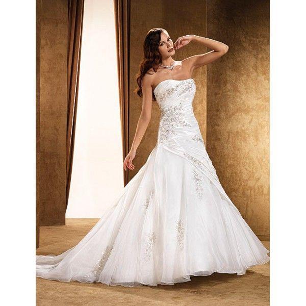 Strapless Court Train Taffeta Mermaid  Wedding Dress