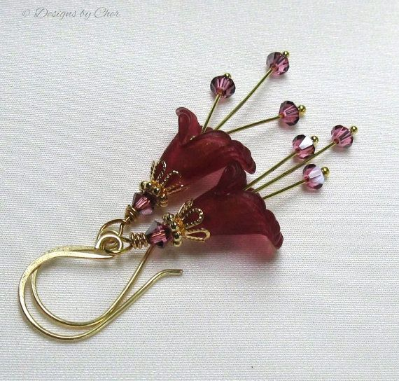 Plum Rose Lucite Flower Earrings, Handmade Gold Earwires, Swarovski Crystals... Rich Floral Jewelry