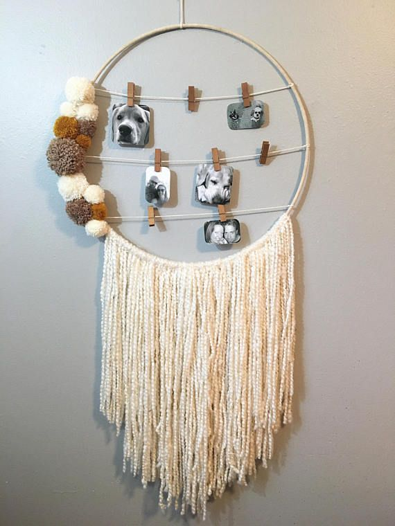 Photo Hanging Dreamcatcher, Pom Pom Dreamcatcher, Large Wall Hanging, Picture Hanging, Boho Wall Art, Boho Dreamcatcher, Wall Art