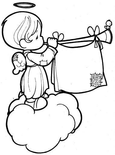 Angel spielt Trompete Färbung