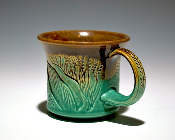 Handmade Ceramic Coffee Mug Wheat By 2frogsstudio