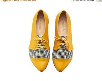 Kerstmis IN juli gele Pepita oxford lederen schoenen / Polly Jean vlakke leerschoenen vrouwen