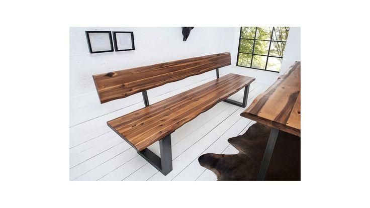 Banc design bois avec dossier Fabiano 200 cm, en bois d'acacia massif, cadre en métal