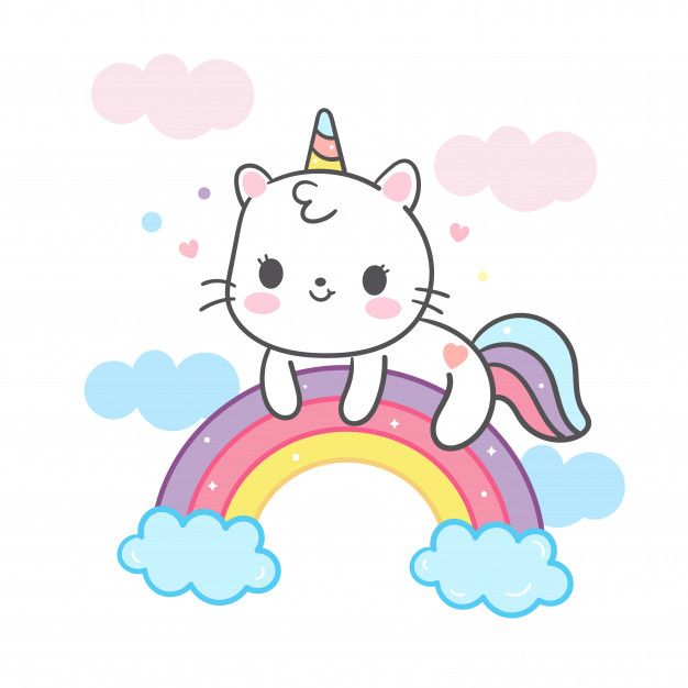 Multfilm Kawaii Cat V Edinorog Na Raduge Dibujos Kawaii De