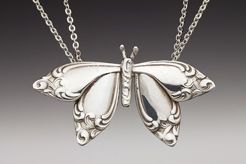 Silver butterfly necklace made from silver spoon handles ~ I LOVE THIS!