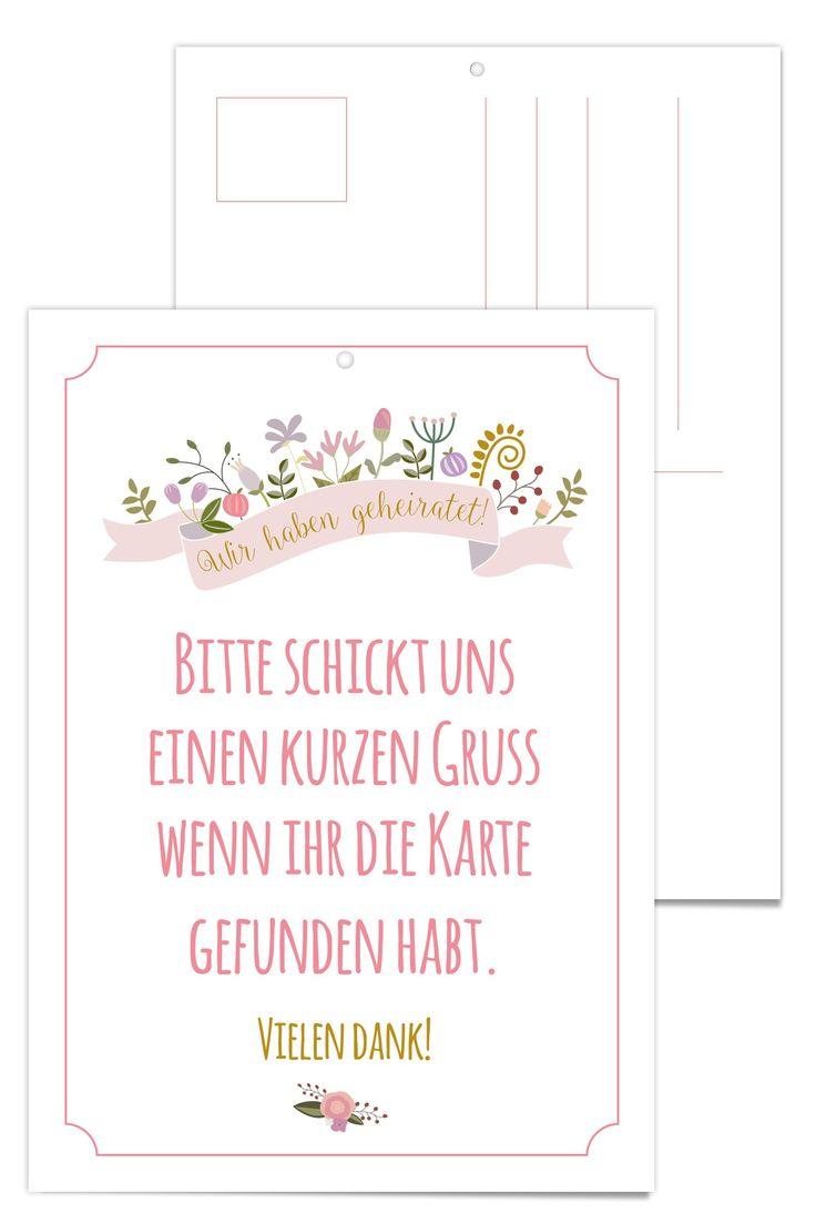 Eine tolle Idee zur Hochzeit sind Helium gefüllte Ballons, die mit einer Postkarte auf Reisen geschickt werden. Der Finder versieht die Karte mit netten Grüßen und schickt sie an das Brautpaar zurück. Du bekommst 25 Karten, die auf der Rückseite beschriftet werden können.<br />  <br />  GRÖßE<br />  A6 | Doppelseitiger Druck<br />  <br />  MATERIAL <br />  Weißes Bilderdruckpapier matt, 135g | Gewicht je Karte 2g<br />  <br />  <br />  <br />