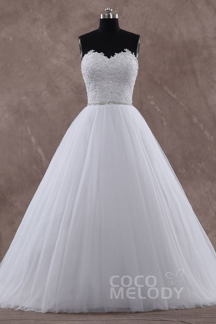 Hot Selling A-Line Sweetheart Natural Train Tulle Sleeveless Lace Up-Corset Wedding Dress with Beading and Appliques CWLT15004