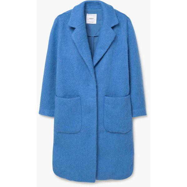 MANGO Cotton Wool-Blend Coat (520 RON) ❤ liked on Polyvore featuring outerwear, coats, blue coat, mango coat and long sleeve coat