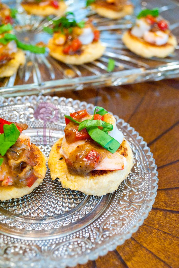 Shrimp grit canap s w basil bacon gravy recipe for Mini prawn cocktail canape