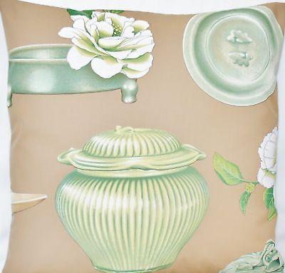 Cushion Cover Manuel Canovas Fabric Celadon Green Brown