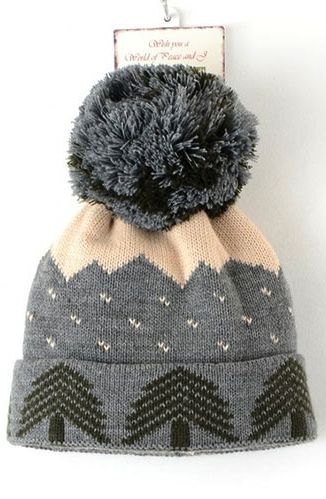 Christmas Tree Pompom Beanie Hat