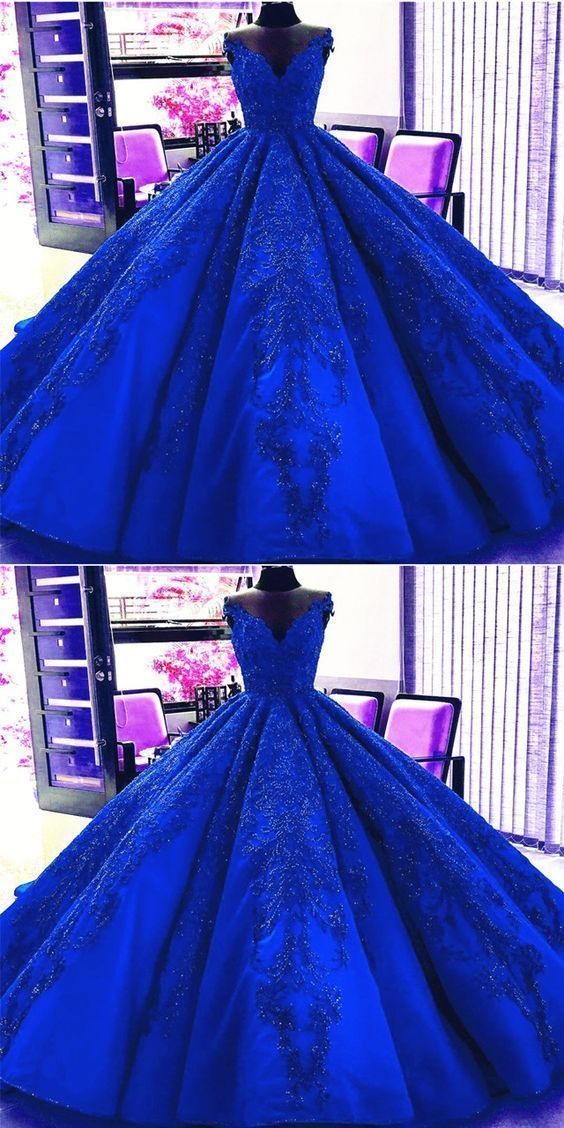 Gorgeous Royal Blue Appliques Beads Quinceanera Dresses, Formal Ball Gown Prom Dress