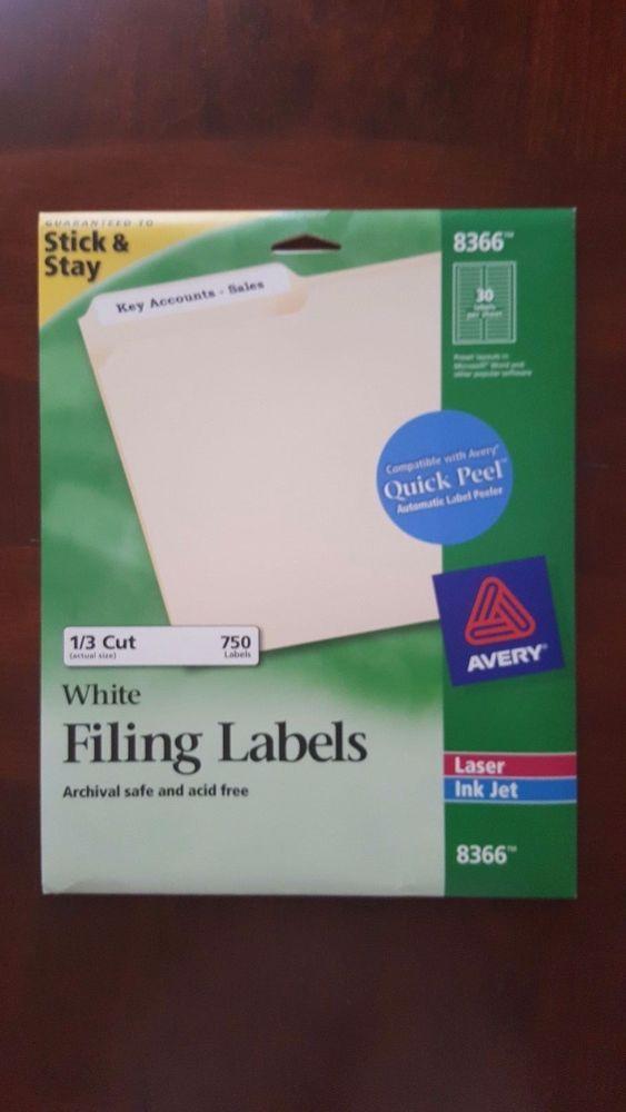 Avery File Folder Labels Laser Inkjet Printers Printable White Pack of 750  #AveryDennison