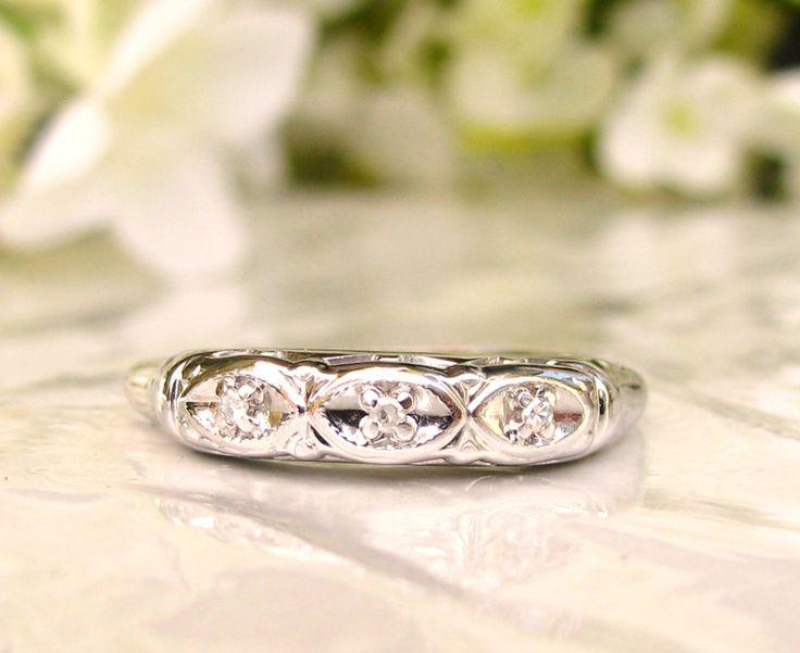 Vintage Diamond Wedding Ring 14K White Gold Decorative Art Deco Style Wedding Band Petite Diamond Ladies Wedding Ring Size 6.75! by LadyRoseVintageJewel on Etsy