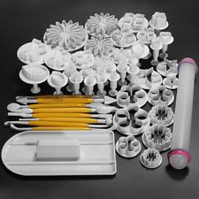 46Pcs /Pack Cake Decorating Fondant Icing Plunger Cutters Tools Mold Sugarcraft