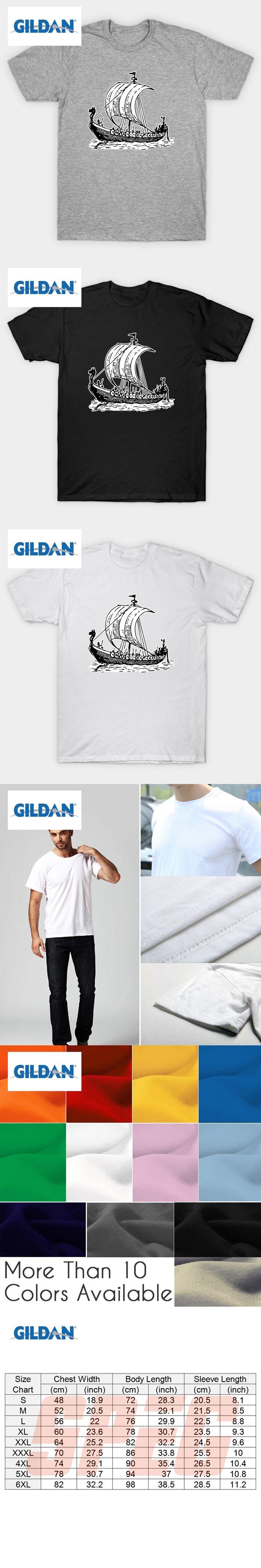 GILDAN Men Tee Shirts Vikings Odin's Ship Boat Valhalla Man Organnic Short Sleeve Tee Shirts New Style Man Men's Formal Shirts