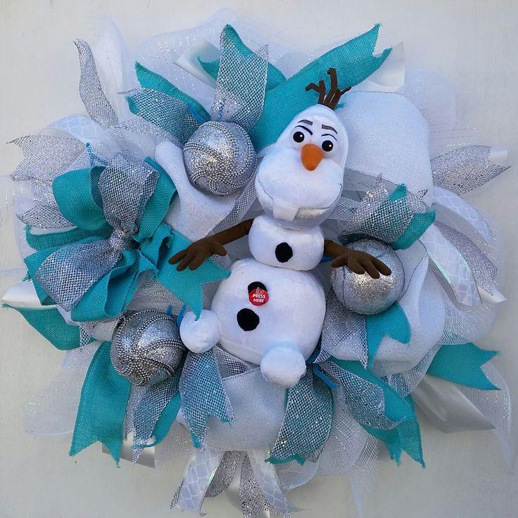 Frozen Olaf Wreath Talking olaf winter wonderland Birthday decor 26'' wreath bedroom decor home office gift olaf kids room let it go frozen by SouthernHeartWreaths on Etsy