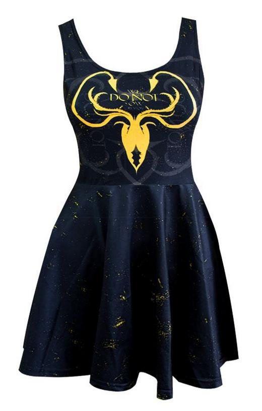 """Vestido Casa Greyjoy, logo. Juego de Tronos Elegante vestido  ajustado con la falda amplia y corto con la imagen del logo de la Casa Greyjoy, uno de los reinos de la gran serie """"Juego de Tronos""""."""
