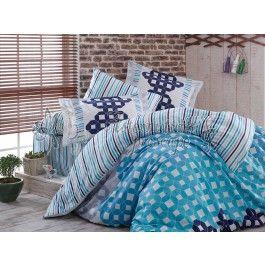 Hobby Home Marcella - lenjerie de pat din bumbac satinat albastru 2 persoane