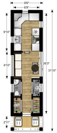 lovebug2 tiny house couples floor plan 2 e1365452614271 the lovebug a tiny house design for - Tiny House Kitchen 2