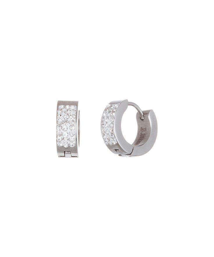 Stainless Steel Channel Huggie Earrings With Swarovski® Crystals