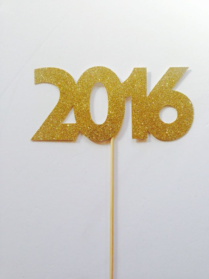 2016 Large gold glitter cake topper -  new years eve party celebrations. cake decorations cake topper by LondonSparkle on Etsy
