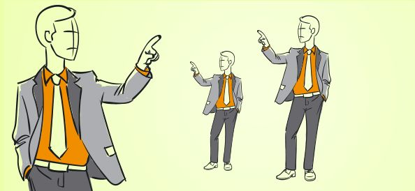 An outline businessman vector illustrated in a suit, looking sideways and pointing with his finger. Get this hand-drawn business guy vector for free.