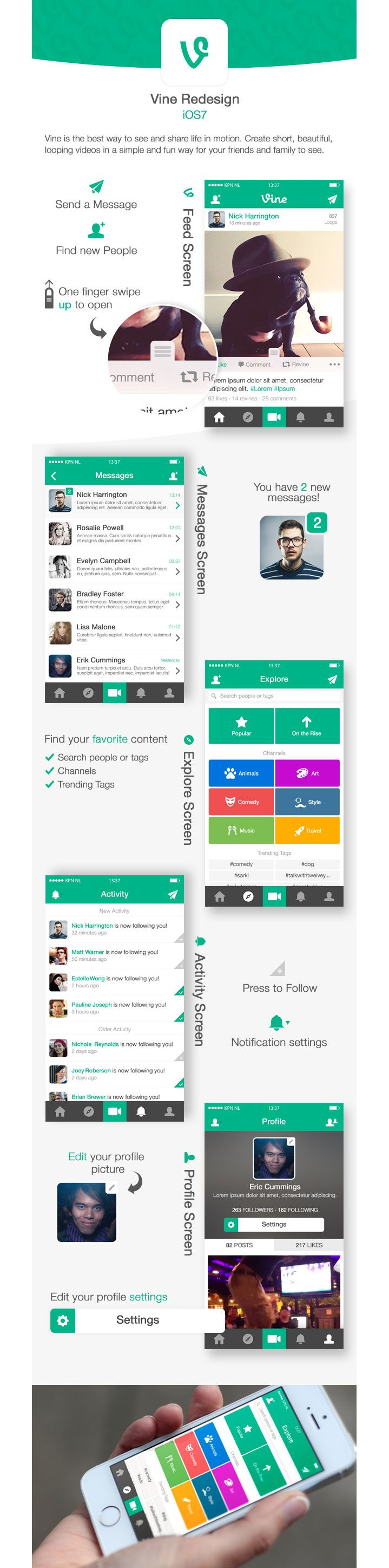 Pretty flat design with matching colors and pretty icons
