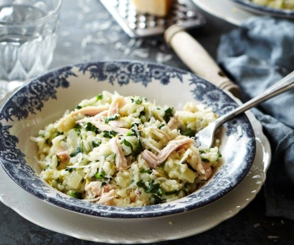 Delicious smoked chicken, spinach and lemon risotto.