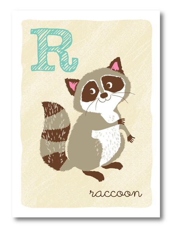 R is for Racoon Illustration Print Alphabet Series Etsy Shop @Sea Urchin Studio