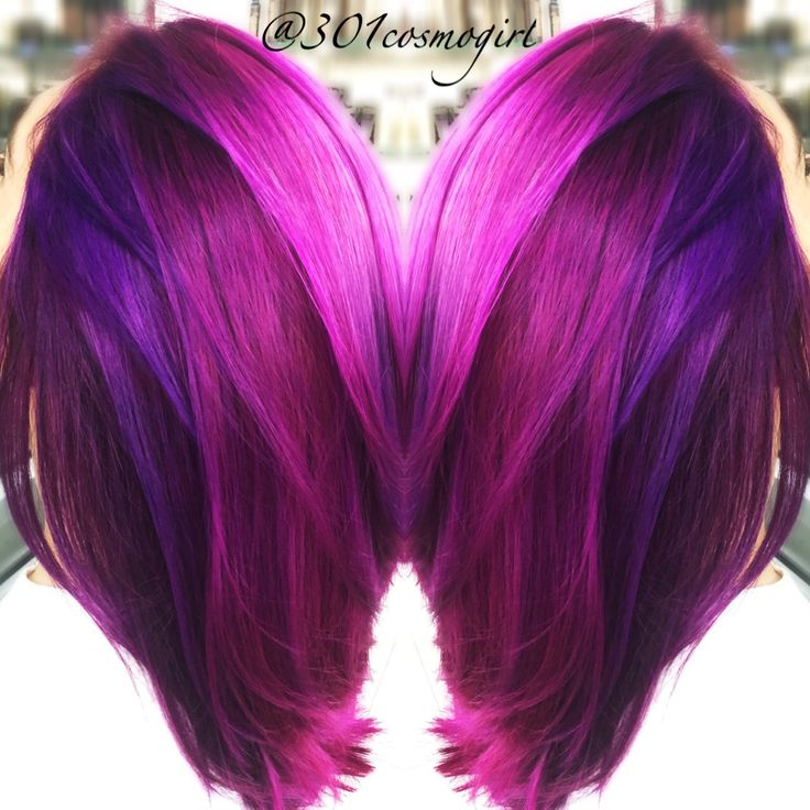 Love my job! Love this bright purple, magenta, pink hair! Used a mixture of the Joico Color Intensity colors!
