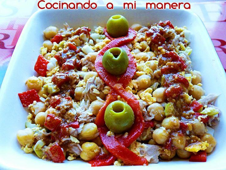 ENSALADA DE GARBANZOS CON VINAGRETA DE PIQUILLOS   Cocinando a mi manera