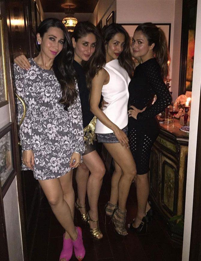 Karisma Kapoor, Kareena Kapoor Khan, Malaika Arora Khan and Amrita Arora Ladak. Pic/Karisma Kapoor's Instagram account