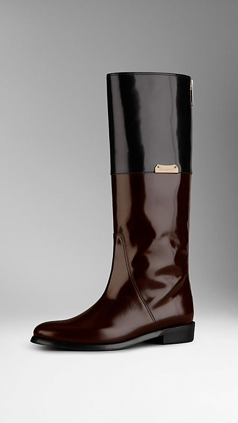 Patent Leather Equestrian Boots | Burberry